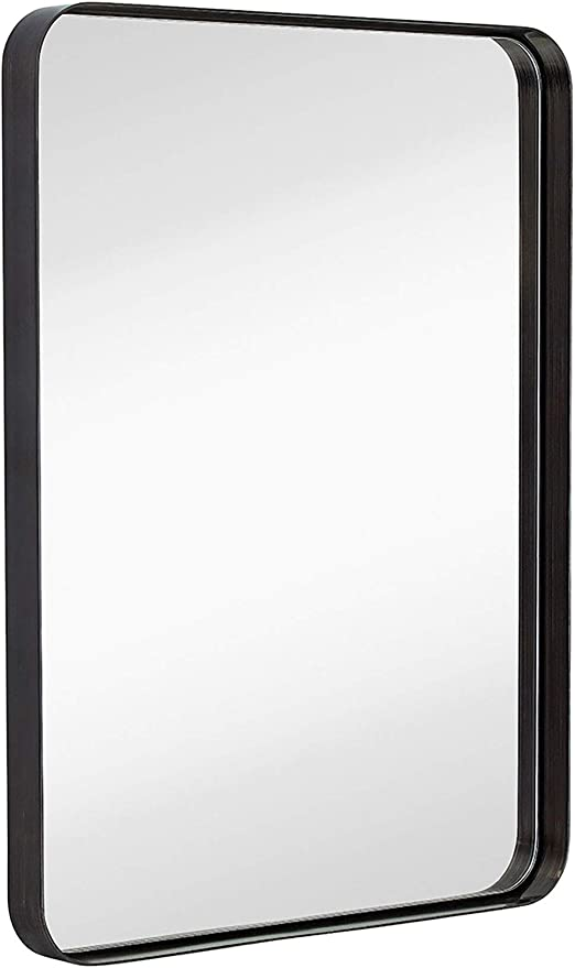 Amazon Com Hamilton Hills Contemporary Brushed Metal Wall Mirror Glass Panel Black Framed Rounded Corner Deep Set Design Mirrored Rectangle Hangs Horizontal Or Vertical 22 X 30 Home Kitchen