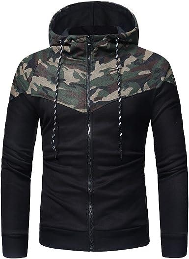 Sudadera para Hombre,Hombres Camuflaje Manga Larga impresi/ón Capucha Sudadera Tops Chaqueta Abrigo Outwear