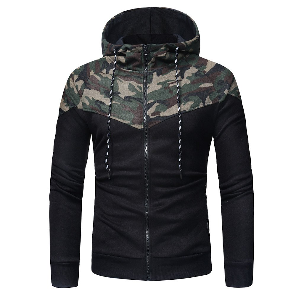 Farjing Sweatshirt for Men,Clearance Sale Men's Long Sleeve Camouflage Print Hooded Sweatshirt Tops Jacket Coat Outwear(XL,Camouflage