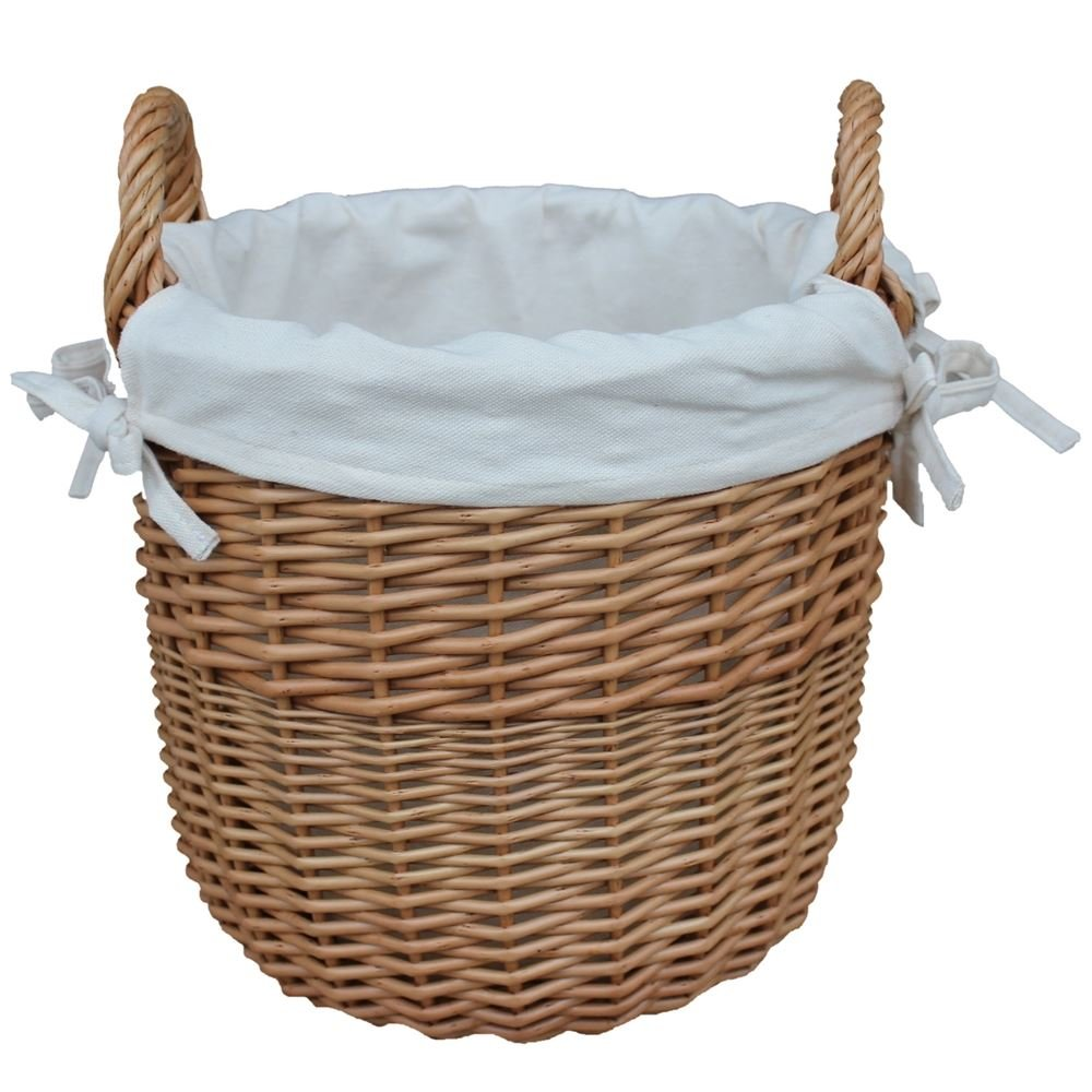 Amazon.com: Large Wicker Linen Basket with a White Cotton Lining ...