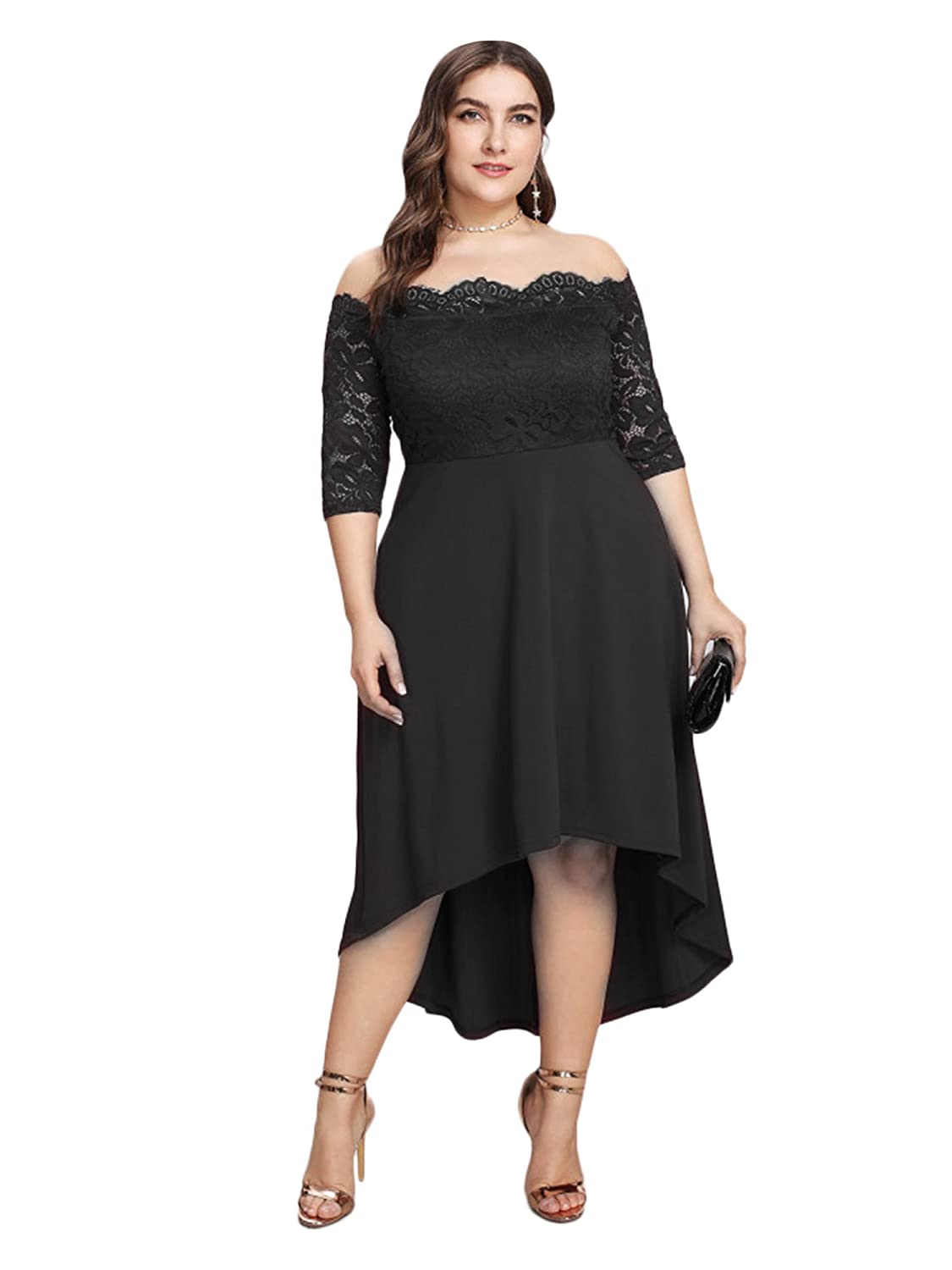 3bb3c19fc0c GMHO Women s Plus Size Floral Lace Off-The-Shoulder Cocktail Formal Swing  Dress at Amazon Women s Clothing store