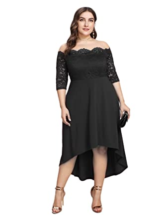 29d7c539cfc GMHO Women s Plus Size Floral Lace Off-The-Shoulder Cocktail Formal Swing  Dress (
