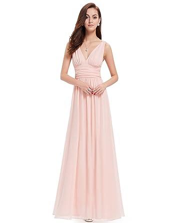 best loved 0f2e6 5cf8e Ever Pretty Damen V-Ausschnitt Lange Chiffon Abendkleider Festkleider 40  Rosa