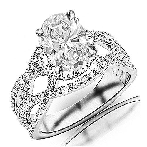 3.25 Ctw Platinum Eternity Love Intertwine Twisting Split Shank Pave-set Round Diamond Ring Oval Shape (2.5 Ct G Color SI2 Clarity Center Stone) ()