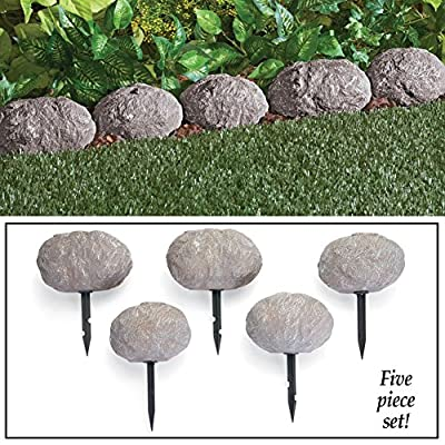Set of 5 Stone Rock Look Stake Garden Path Outdoor Pathway Trail Flowerbed Walkway Edging Border Yard Decor