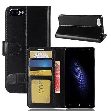 pinlu® Funda para Cubot Rainbow 2 Moda Negocios Flip Phone Case Magnética Billetera de Cuero PU con Ranura para Tarjeta y Soporte Función Negro