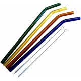 Teenie Greenie Bent Glass Straws 9 in x 9.5 mm, 4 Pack, Shatter Resistant, Pyrex-Glass + 2 Cleaning Brushes -No BPA-, Non-Toxic, Reusable, Eco-Friendly, 4 Fun Colors