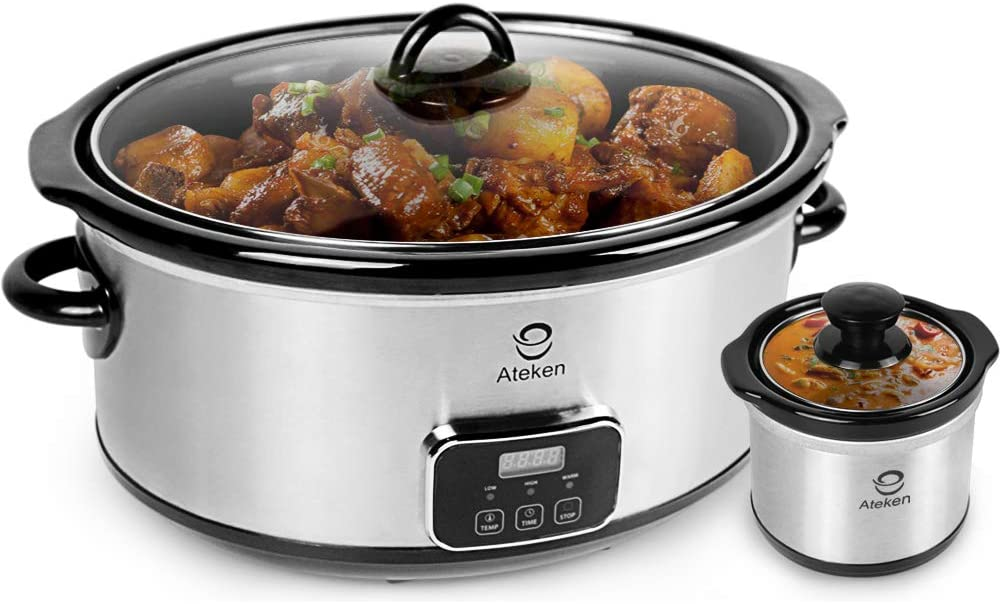 Ateken Slow Cooker 7 Quart Programmable with Digital Countdown Timer Stainless Steel Set