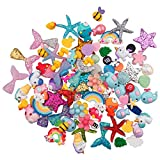 Petift 100pcs Slime Charms Mixed Mermaid Tail,Unicorn,Marine Life and Animals,Resin Flatback Slime Beads for Kids and Adults Craft Making,Ornament Scrapbook DIY Crafts