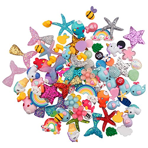 - URlighting Slime Charms (100 Pieces) Mixed Mermaid Tail and Rainbow Animals Resin Flatback Slime Beads for Kids and Adults Craft Making, Ornament Scrapbook DIY Crafts