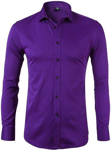 Miwaimao Camisa de manga larga para hombre de negocios suelta ...