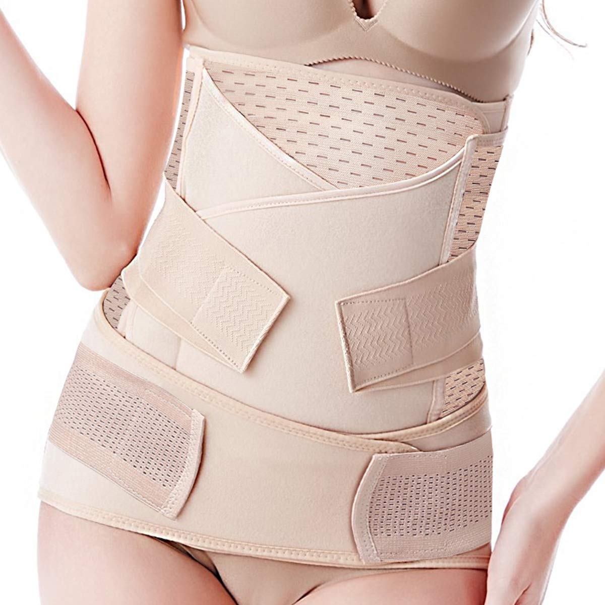 Shapewear Abdominal Binder Waist Trainer Postnatal Wrap Body Shaper Corset for Women Fast Recover from C Section Surgery Postpartum Support Recovery Belly Band Girdle 3 in 1 Belt