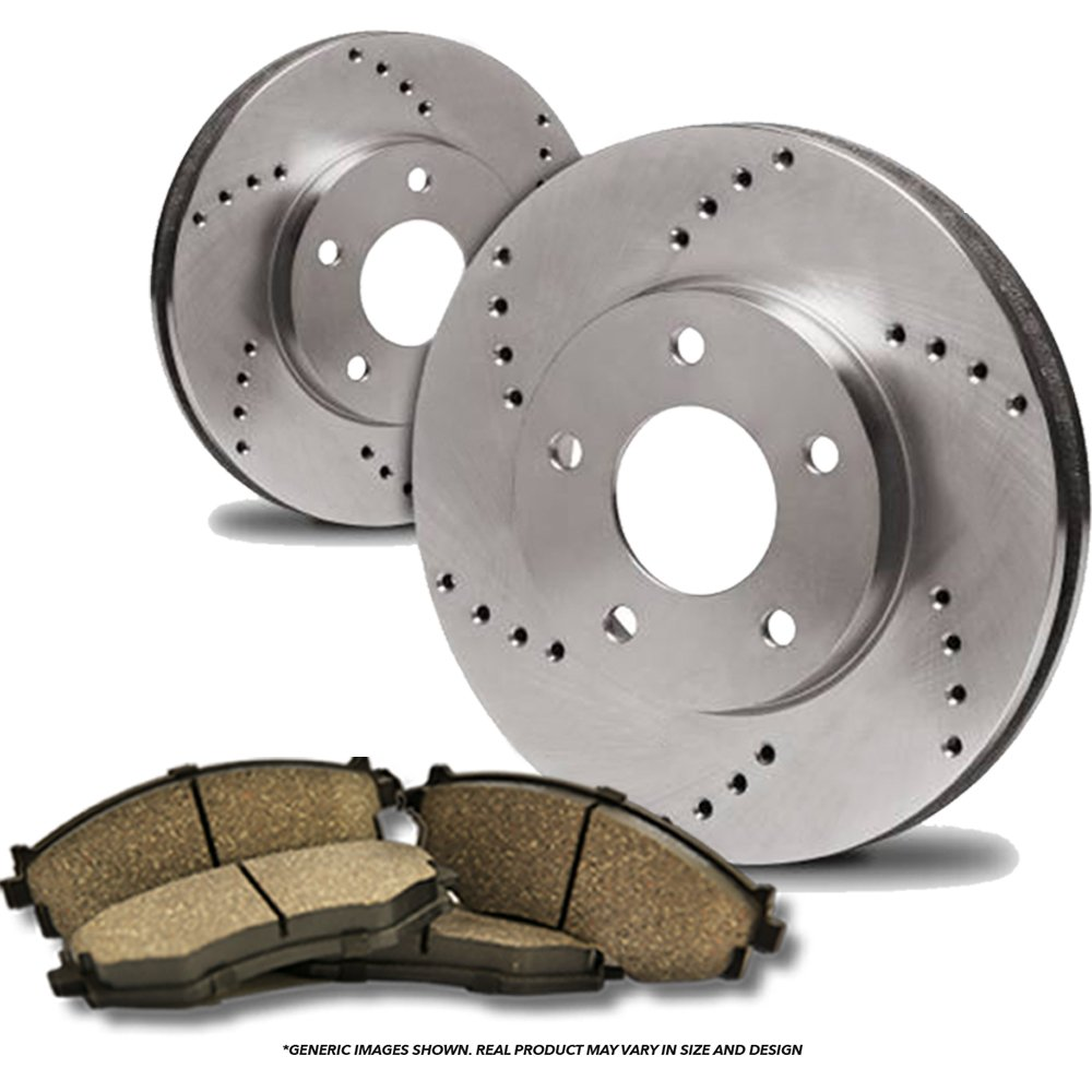 (Front Kit)(High-End) 2 Cross-Drilled Disc Brake Rotors + 4 Ceramic Pads(5lug) frautoparts
