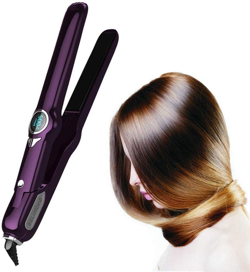 Alisadores de Pelo para Pantalla de Cristal LCD eléctrica Piedra cerámica Curling Rod Perm Hairdressing Herramienta,Purple