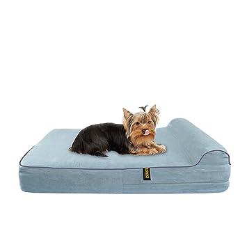 KOPEKS Cama Mediana para Perros y Gatos Pequeños a Medianos Mascotas Colchón con Memoria Viscoelástica Ortopédico 63 x 50 x 10 cm más la Almohada - S ...