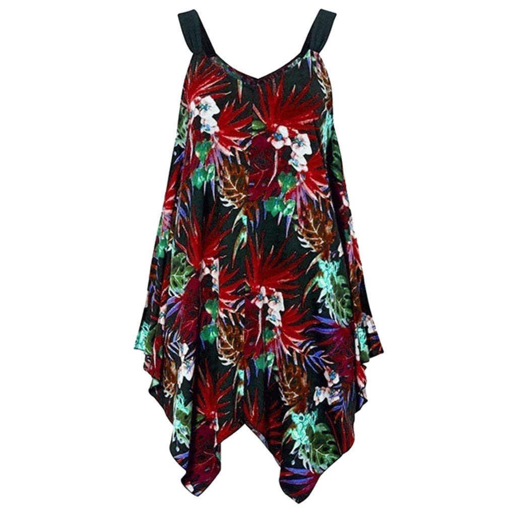 BaZhaHei Dress for Women Plus Size Irregular Sleeveless Summer Vest Tank Tops Jumper Mini Dress Loose T-Shirt Dress for Daily Party Beach
