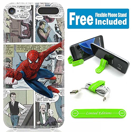 [Ashley Cases] TPU Skin Cover Case for iPod Touch 5th/6th Generation with Flexible Phone Stand - Comics Spiderman Cartoon - Spiderman Case For Ipod