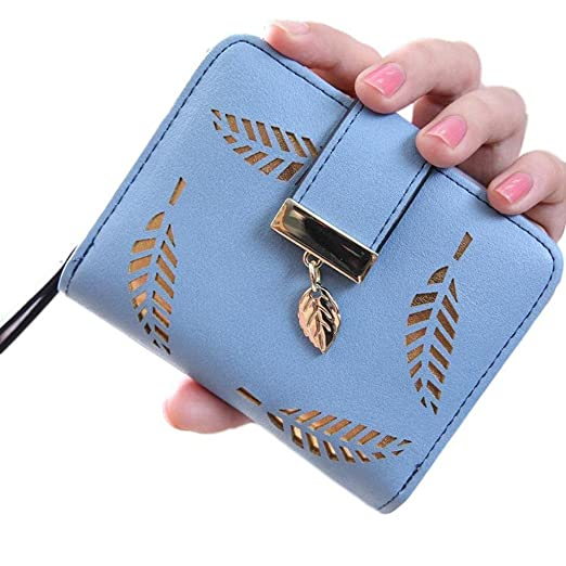 8fd5eea60854b Womens Wallet with Gold Leaf Motif (Light Blue) at Amazon Women s ...