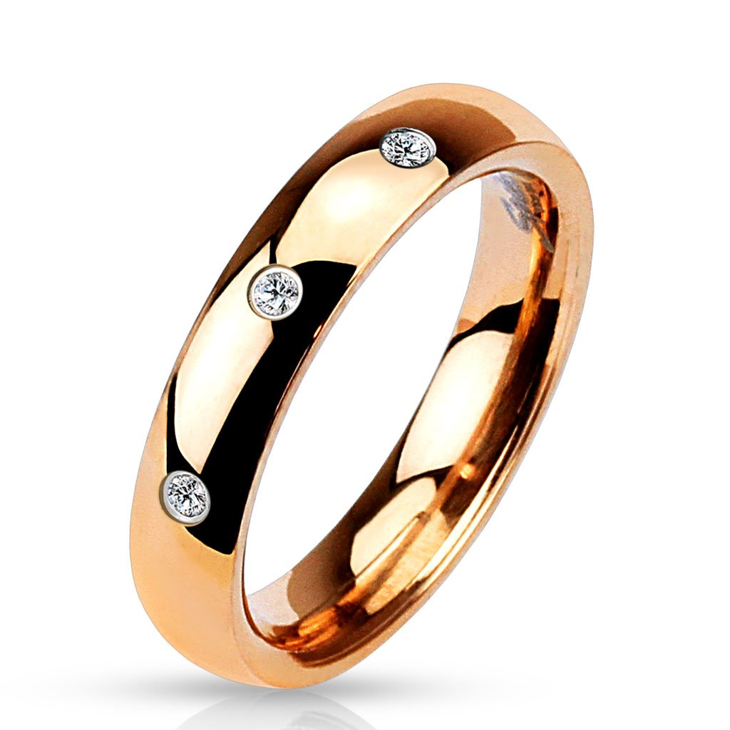 Jinique STR-0503 Stainless Steel 3-CZ Classic Dome Rose Gold IP Ring