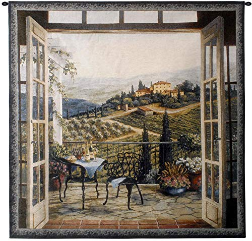 (Balcony View of The Villa by Barbara Felisky | Woven Tapestry Wall Art Hanging | 100% Cotton USA Size 53x53)