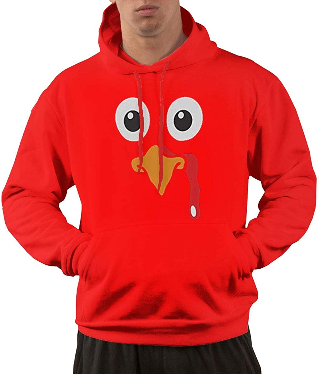 Get Now Re-emerwm Men Funny Jogging Pocket Hoodies Printed with Turkey Face Funny Thanksgiving