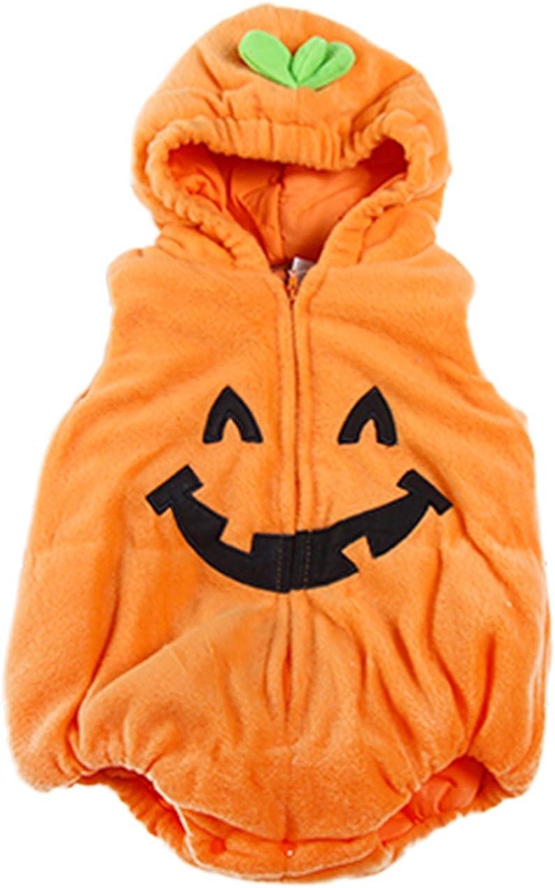 stylesilove Infant Toddler Halloween Baby Kids Fleece Pumpkin Costume Comfy Jumpsuit