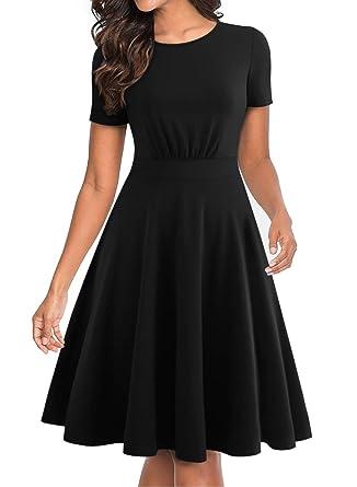 b64ad177ddcf BOKALY Women's Vintage Party Dresses for Women Elegant Short Sleeve Swing  Summer Dress Simple Knee Length