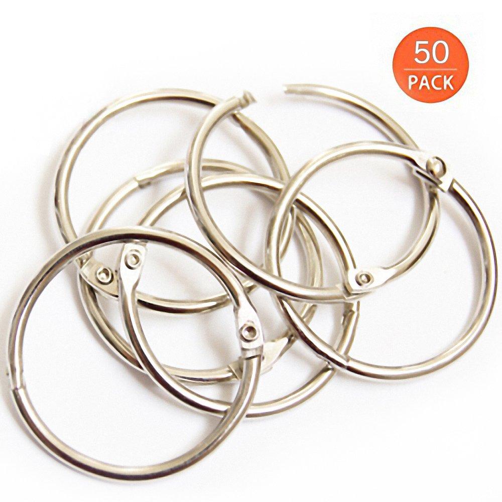 Loose Leaf Binder Rings, Book Ring, 1 inch Diameter, Silver, 50 per Box