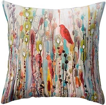wintefei Win Bird Flower Throw Pillow Case 18x18 inch Bed Sofa Living Room Decor Cushion Cover? - 1#