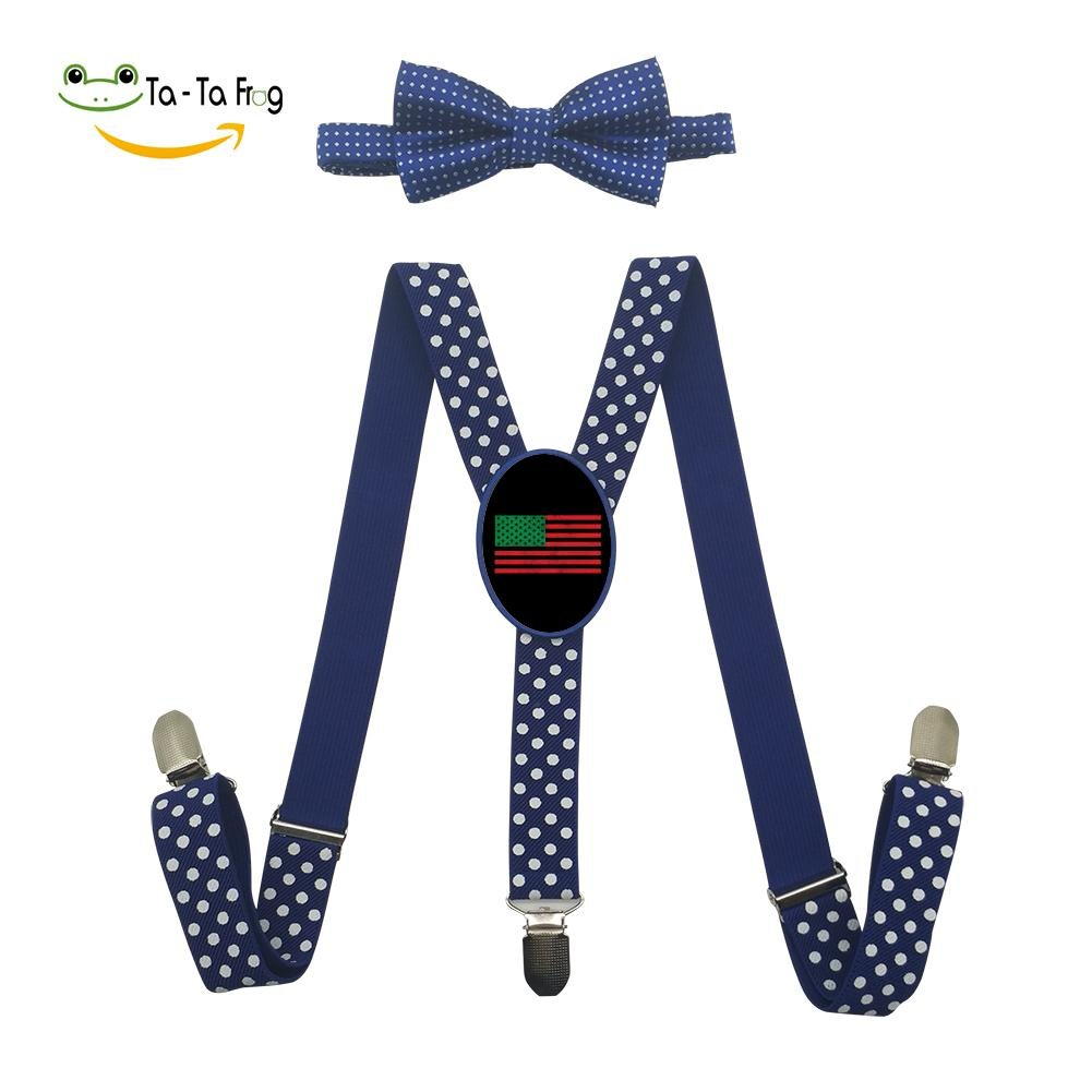 Grrry Kids African American Flag Adjustable Y-Back Suspender+Bow Tie