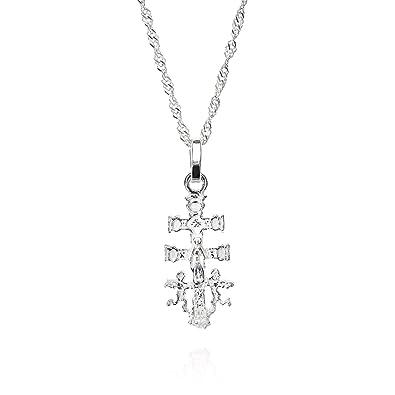 Cruz caravaca, cruz caravaca plata de ley con cadena singapur 45 cm, colgante mujer, una joya con historia: Amazon.es: Joyería