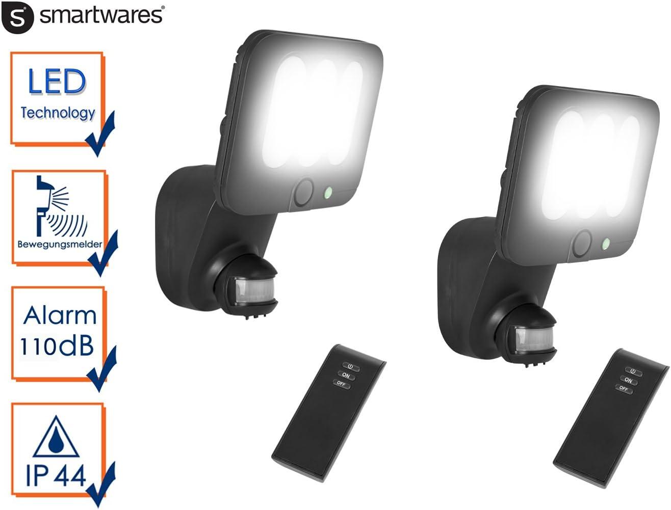 mando a distancia 10/W Juego de 2/LED L/ámpara de Seguridad//Foco exterior con detector de movimiento y alarma