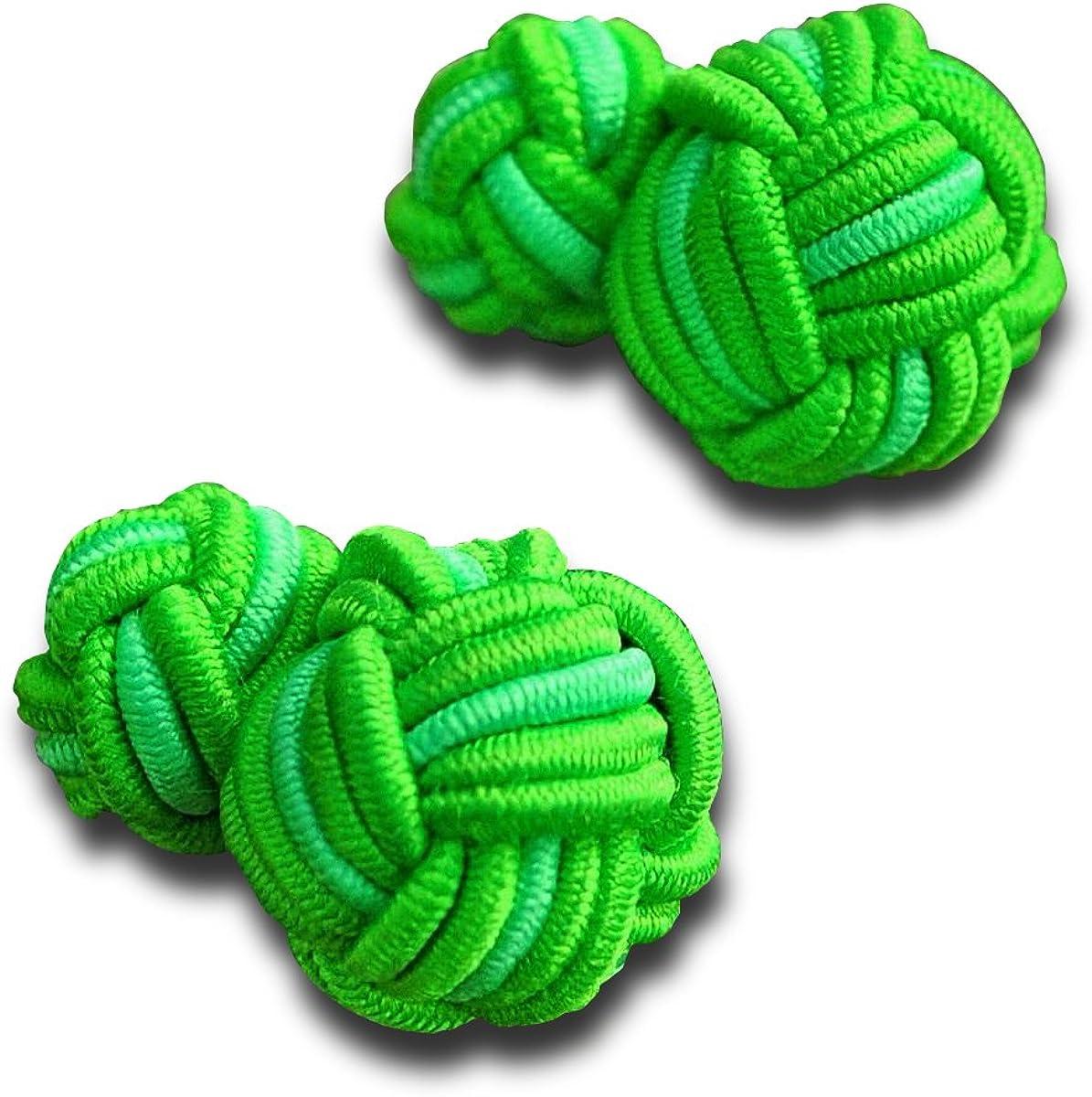 Silk Knot Cufflinks Lime Green