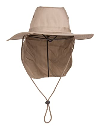 4201a5b0 TopHeadwear Top Headwear Safari Explorer Bucket Hat With Flap Neck Cover -  Beige: Amazon.co.uk: Clothing