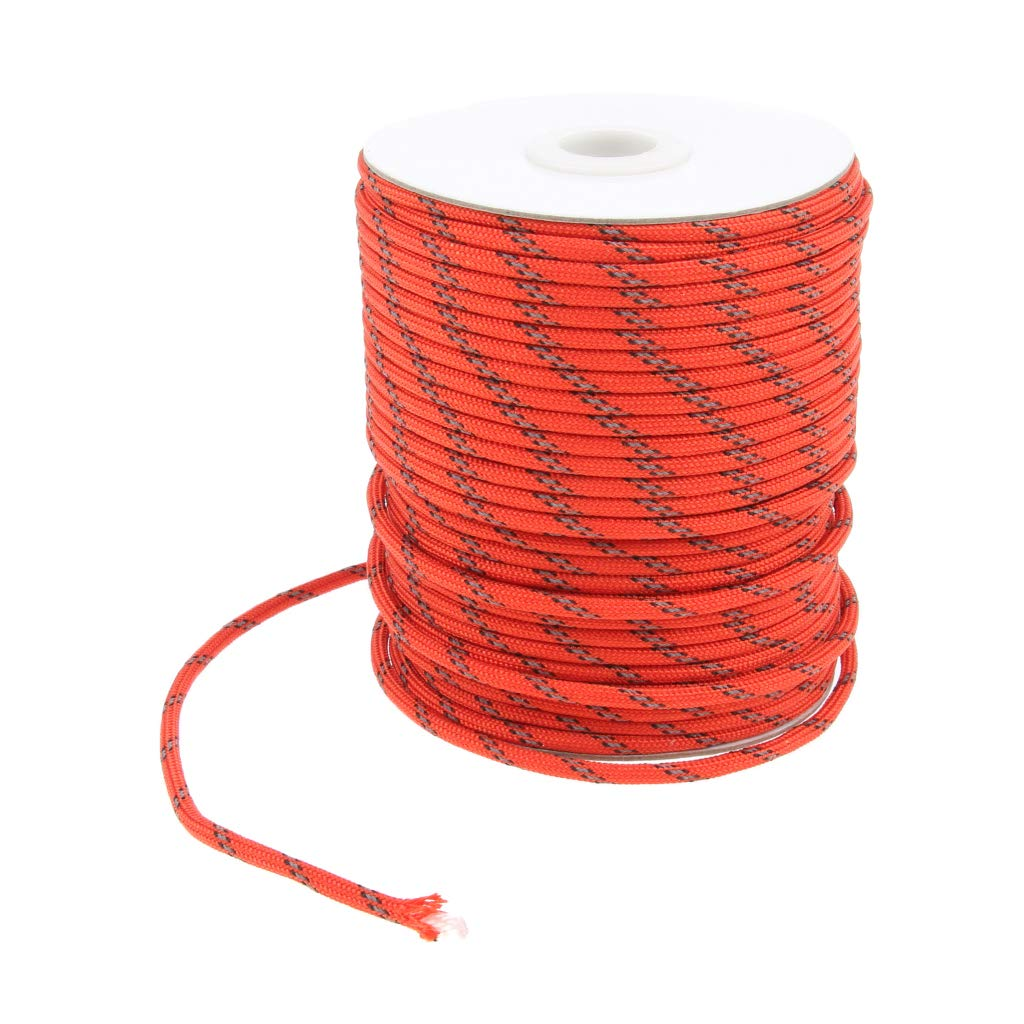 Baosity 5mm Fluorescent Reflective Guyline Tent Rope Camping Cord Paracord Roll Glow in Dark High Visible for Hiking Backpacking Beach