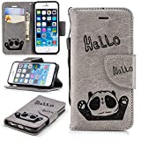 Misteem Cartoon Case iPhone 5S, Case iPhone 5/SE, Cute Retro Panda Pattern Leather Cases Flip Shockproof Card Holder Bookstyle/Stand / Magnetic Wallet Cover Protector Apple iPhone 5/5S - Panda Grey