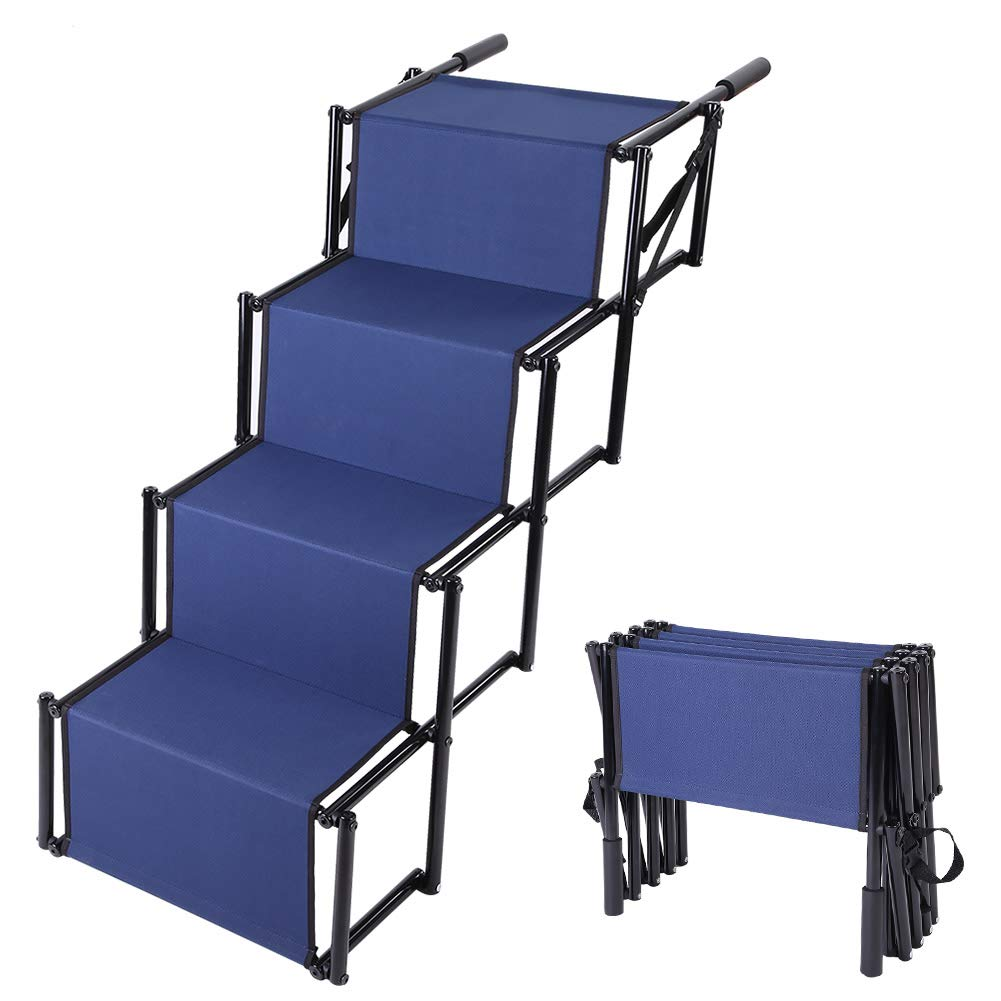 Folding Car Dog Steps Stairs, Metal Frame Portable Pet Ladder Ramp, Pet Ladder Steps for Pets Couch Bed Indoor Outdoor Use by Cocoarm
