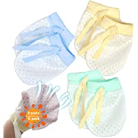 NOCHME - Mitones antiarañazos para recién nacidos, 3 pares de mallas transpirables ajustables, sin arañazos, guantes…