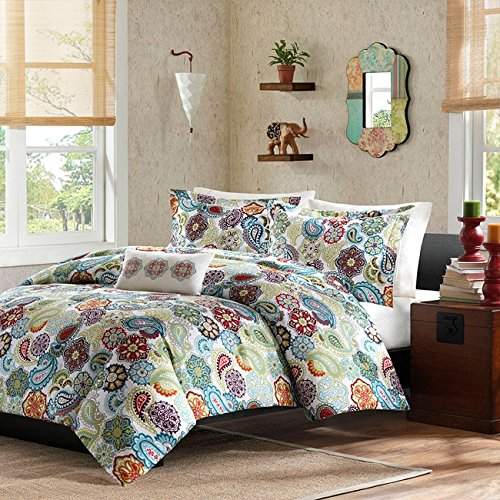 3 Piece Girls Hippie Twin XL Comforter Set, Multi Floral Bohemian Bedding, Red Green Blue White Floral Prints, Indie Inspired Hippy Spirit, Paisley Flowers, Beautiful Pattern, Vibrant Colors