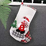 "Chenway Vintage Santa Christmas Stocking Decoration Pendant Candy Gift Bag | Knit Patchwork Toe Cuff | Festive Holiday Décor | Winter Theme Ornaments | Measures 16"" Tall (Beige)"