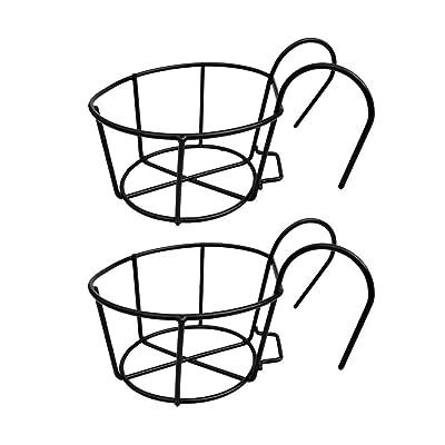 NATFUR 2X Iron Art Hanging Baskets Flower Pot Holder for Patio Balcony Porch Decor: Garden & Outdoor