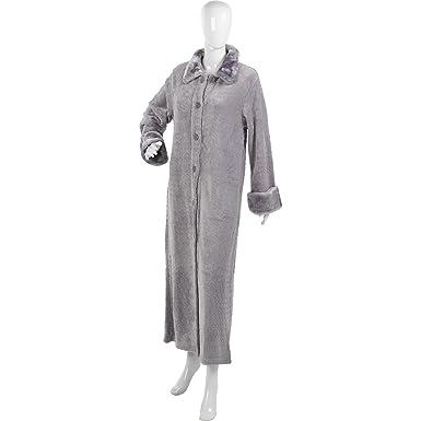 cb5b5f5ef4 Slenderella Ladies Luxury Textured Fleece Ankle Length Dressing Gown Silver  Grey Large - UK 16