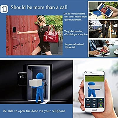 PierTech® NEW 2015 WiFi Video Smart Doorbell IP Visual Door Intercom Wireless Monitoring Bell iPhone Android iPad Tablet Smartphone Monitor Peephole Camera Smart Door Cam Viewer Lock Security Alarm IR Night Vision Surveillance