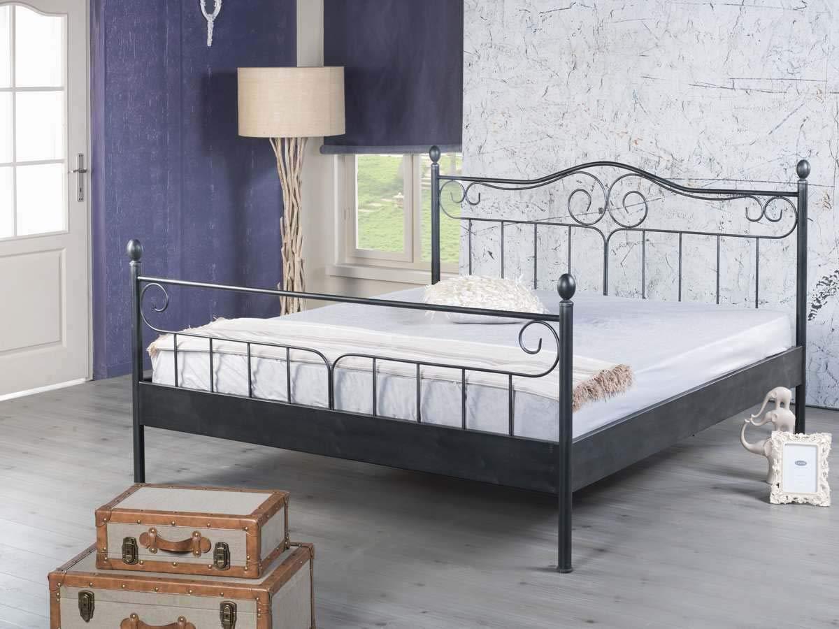 EINRICHTEN24 Metallbett Doppelbett Virgina Größen (schwarz, 180 x 200 cm)