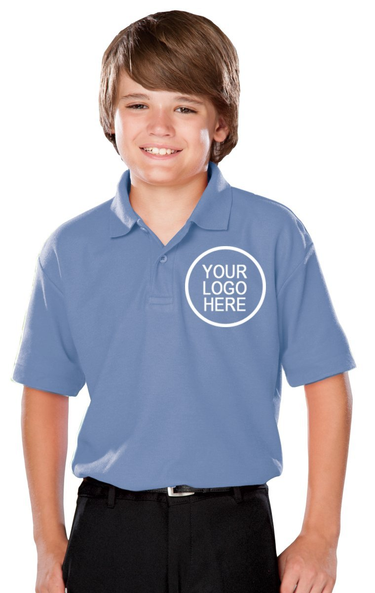 Blue Generation 24 Pieces Custom Logo Embroidered BG5300 Youth Value Polo (Light Blue)