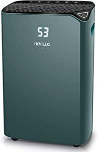 HEVILLO 2000 Sq. Ft Dehumidifier for Home Basements Bedroom Garage, with Continuous Drain Hose and Wheel, 0.66 Gallon Water Tank Capacity, Intelligent Humidity Control (Green)