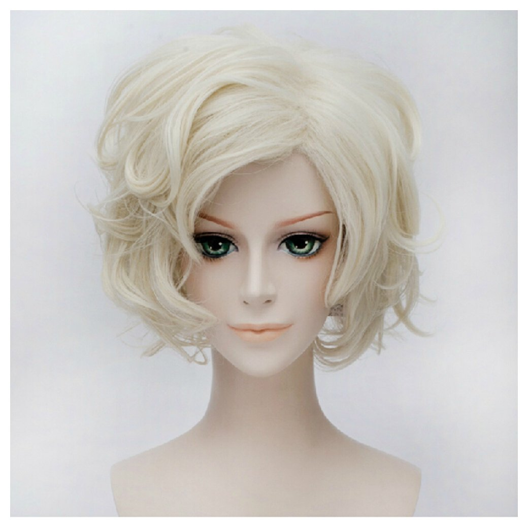 Amazon.com: COSPLAZA Short Curly Light Beige Anime Hair Cosplay Wigs Synthetic Wig: Health & Personal Care