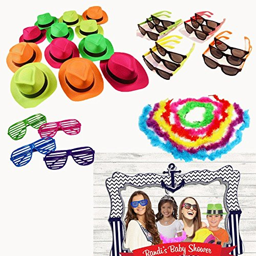[Party Photo Booth Props Kit - Sets of 24 Hats, Sunglasses & Feather Boas for Themed Birthday Parties & Events - 96 Pieces - By Dazzling] (80s Costumes For Family)