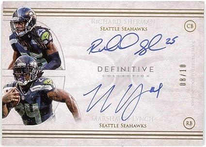 4f3717502 2015 Topps Richard Sherman Marshawn Lynch Dual Autograph Signature 8 10 -  NFL Autographed Football