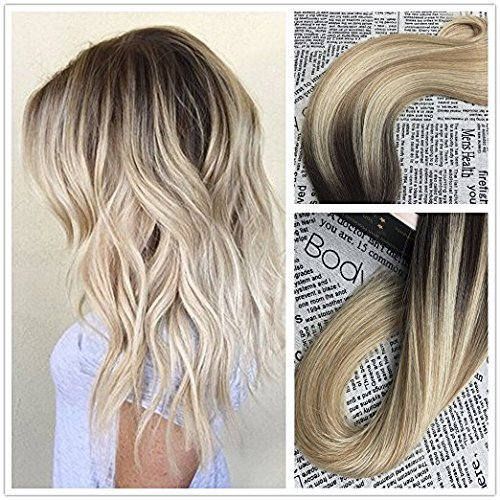 Moresoo 20 Inch 25g/10pcs Colorful Hair Darkest Brown#2 to Bleach Blonde#613 Highlighted with Medium Golden Blonde Seamless Skin Weft Hair Invisible Tape